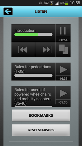 Highway code app - audiobook