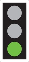 GREEN means you may go on if the way is clear. Take special care if you intend to turn left or right and give way to pedestrians who are crossing