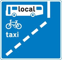 With-flow bus lane ahead which pedal cycles and taxis may also use