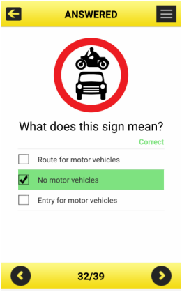 Road Signs app - text