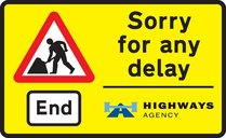 End of road works and any temporary restrictions including speed limits
